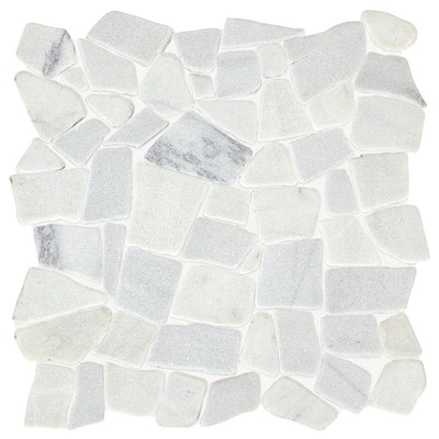 Genuine Stone Refined White 12 In X Pebble Marble Mosaic Floor And Wall Tile Common Actual 38