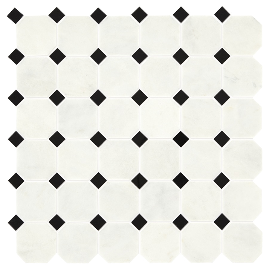 Shop american olean genuine stone luxe white and black octagon dot american olean genuine stone luxe white and black octagon dot mosaic natural stone marble floor and dailygadgetfo Images