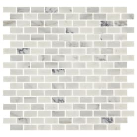 American Olean Genuine Stone Refined White 12-in x 12-in Brick Marble Mosaic Floor and Wall Tile (Common: 12-in x 12-in; Actual: 12-in x 12.5-in)