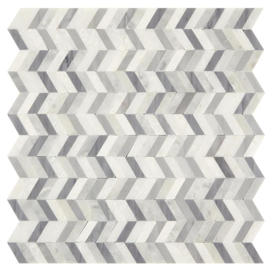 American olean genuine stone gray and white 12 in x 12 in chevron marble