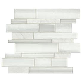 American Olean Cole Point Cloud White 12-in x 14-in Stone And Glass Linear Mosaic Wall Tile (Common: 12-in x 14-in; Actual: 11.88-in x 14.31-in)