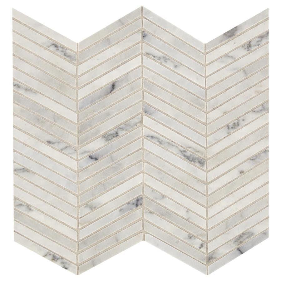 Chevron Marble Rug: American Olean Genuine Stone Smoke White 12-in X 12-in