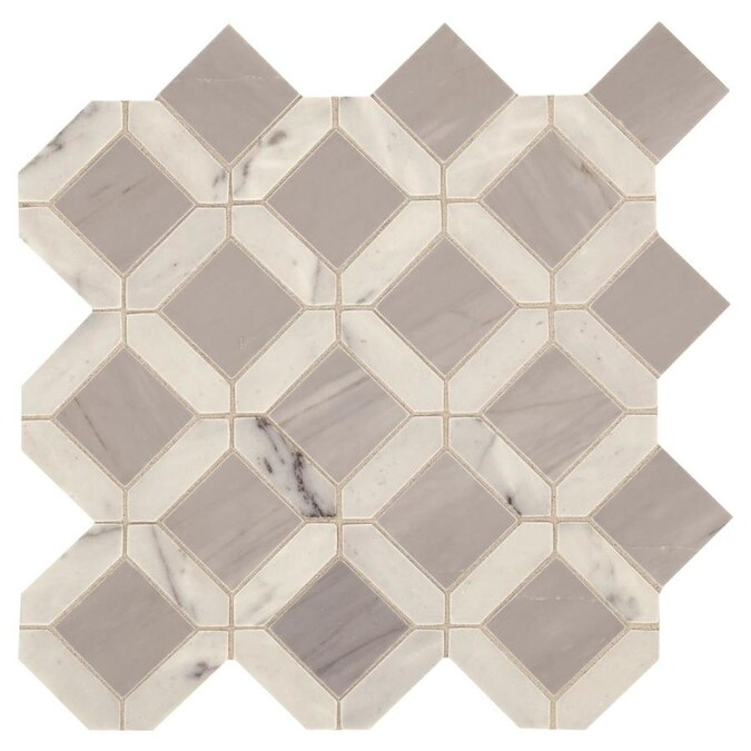 American Olean Genuine Stone White And Gray 12 In X 12 In