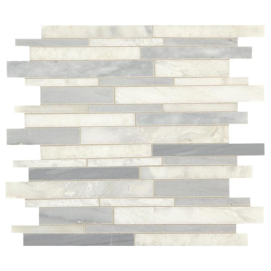 American Olean Genuine Stone Ice Gray 11-in x 13-in Linear