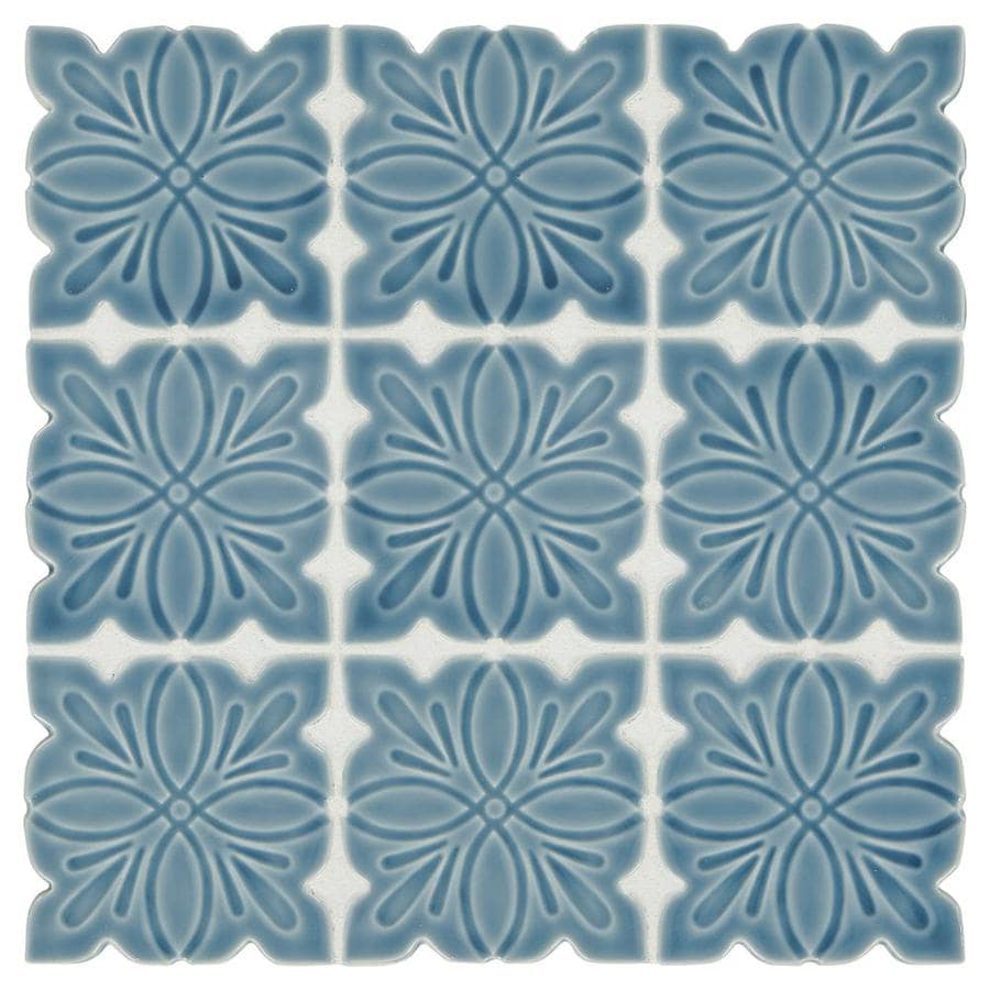 Shop American Olean Parisian Deep Blue Mosaic Floor And Wall Tile ...