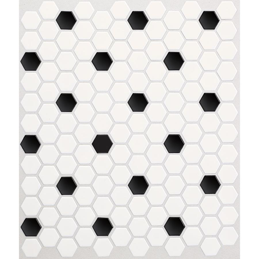 American Olean Satinglo Hex Ice White With Black Dot