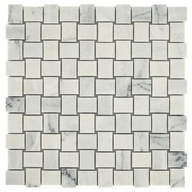 American Olean Genuine Stone Refined White Basketweave Marble Mosaic Floor And Wall Tile Common