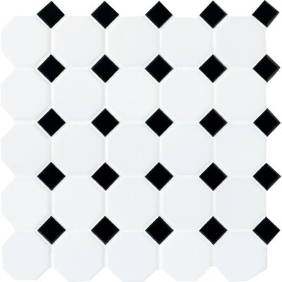 American Olean Starting Line White Octagon With Black Dot