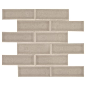 American Olean Union View Gray Chevron 11-in x 14-in Glazed Ceramic Brick Mosaic Wall Tile