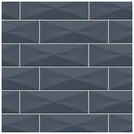 American Olean VitaScape Midnight Glossy 4-in x 12-in Satin Ceramic Subway Wall Tile