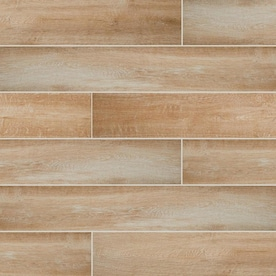 American Olean Pike Wood Brown 6-in x 36-in Glazed Porcelain Wood Look Floor and Wall Tile