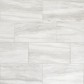 American Olean Newcastle Marble 12-in x 24-in Glazed Porcelain Marble Look Floor and Wall Tile