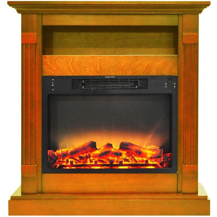 Cambridge Sienna 34 In. Electric Fireplace with Enhanced Log Display and  Teak Mantel