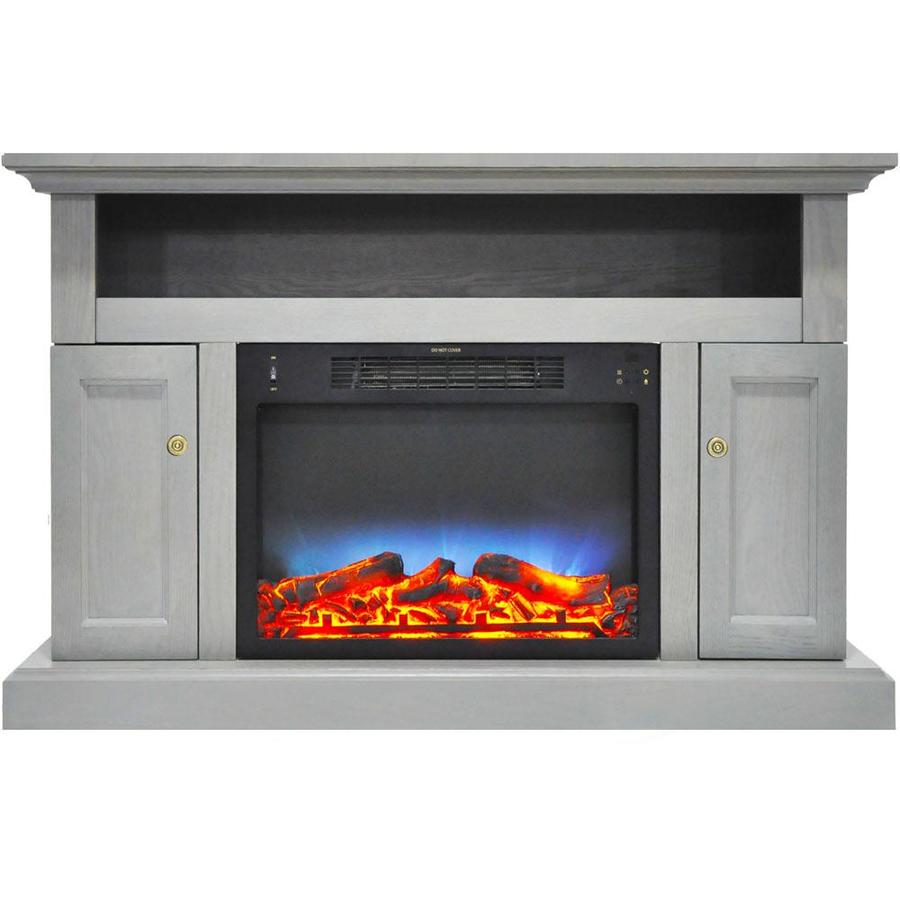Cambridge Sorrento Electric Fireplace with an Enhanced Log Display and 47  In. Entertainment Stand in Black Coffee