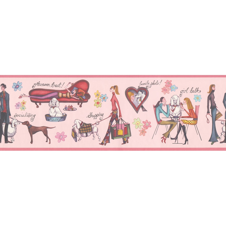 Allen Roth 6 7 8 Pink Paris Scene Prepasted Wallpaper Border At