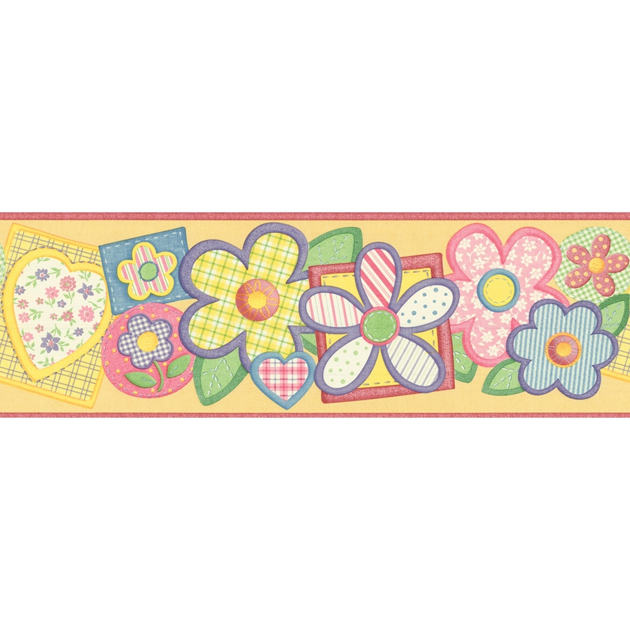 Shop Waverly 6 78 Yellow Flower Patch Prepasted Wallpaper Border