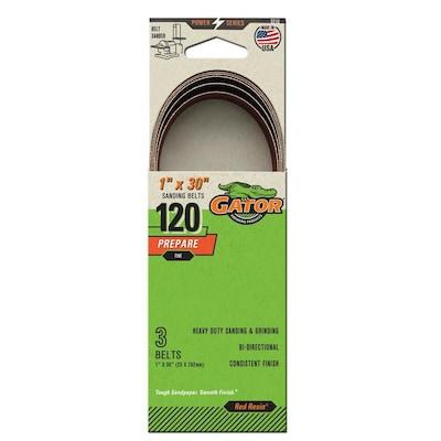 Sanding Belt 1 x 30 in 120 Grit 10 Pack Sandpaper Fine Grade Polishing Accessory