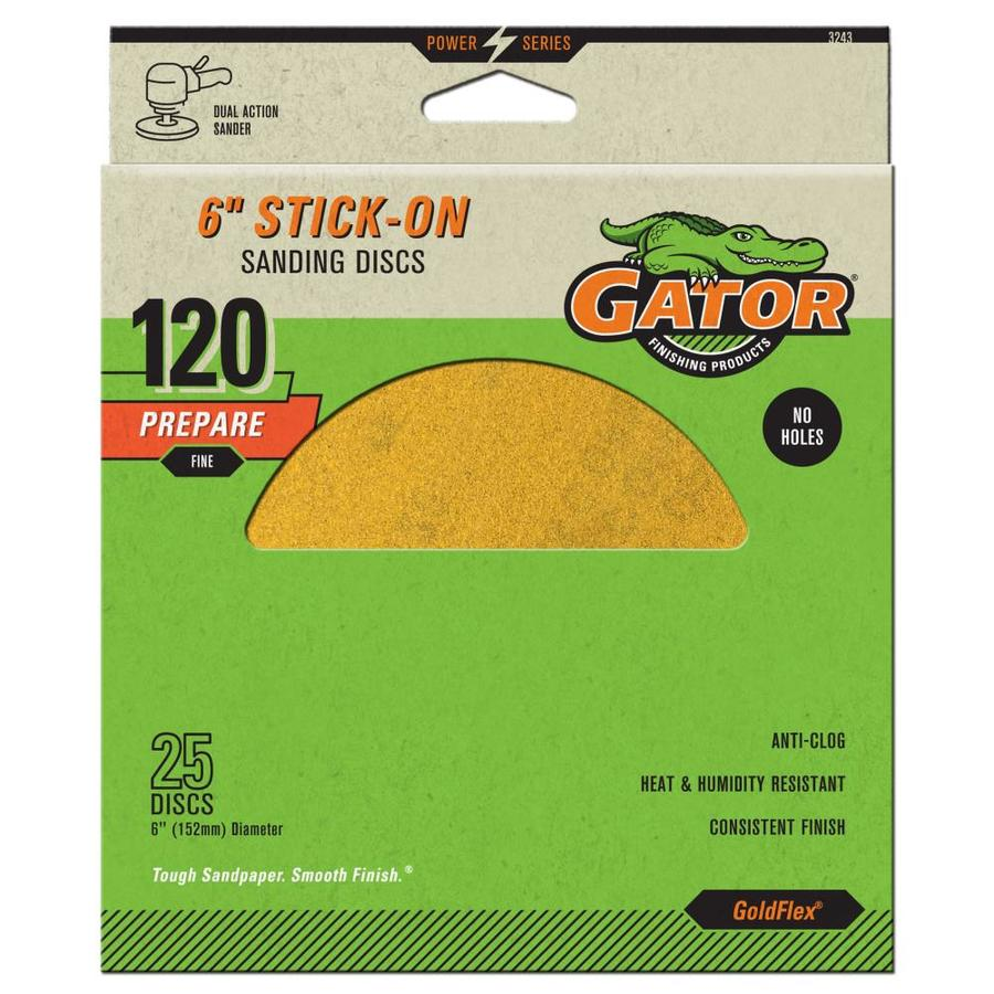 Gator 25-Pack 6-in W x 6-in L 120-Grit Commercial Stick-On Sanding Disc Sandpaper