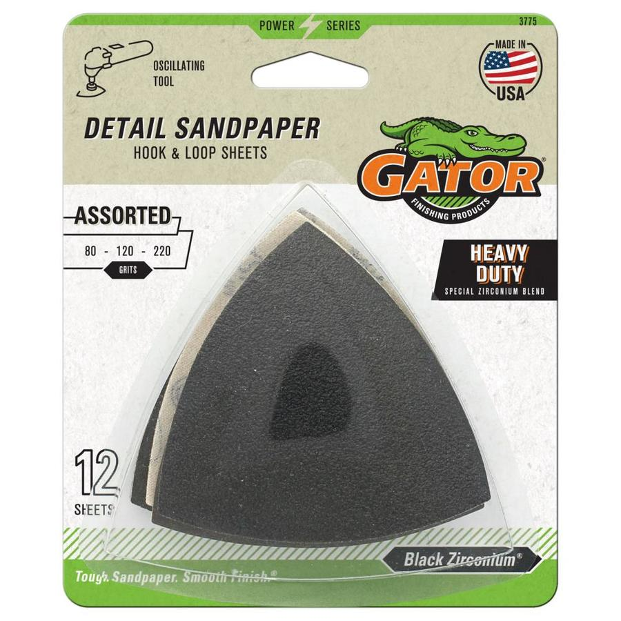 Gator 12-Pack 3-in W x 3-in L Multi-Grade Pack Commercial Hook and Loop Detail Sandpaper Sheets