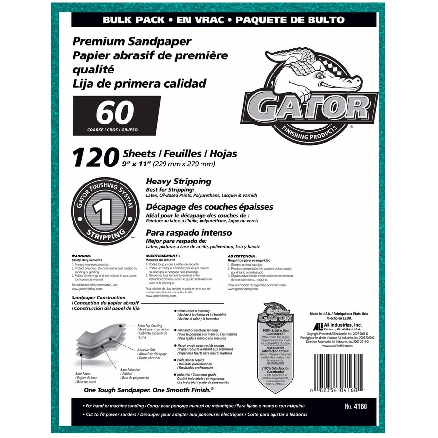 Gator 120-Pack 9-in W x 11-in L 60-Grit Commercial Sandpaper Sheets