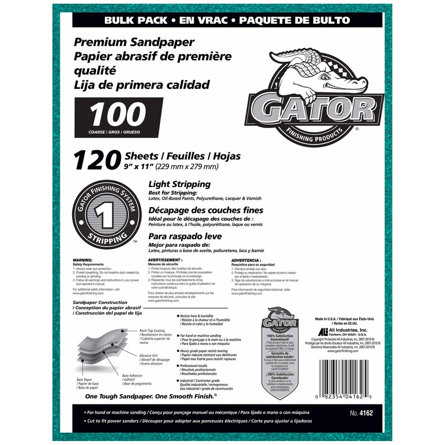 Gator 120-Pack 9-in W x 11-in L 100-Grit Commercial Sandpaper Sheets
