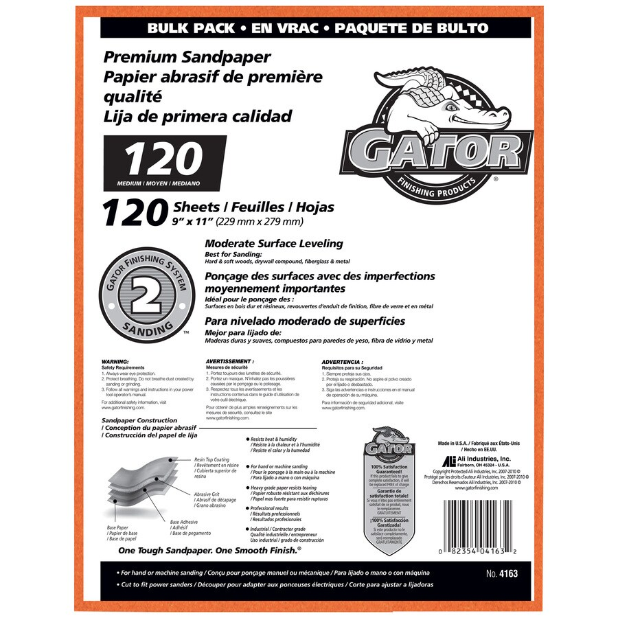 Gator 120-Pack 9-in W x 11-in L 120-Grit Commercial Sandpaper Sheets