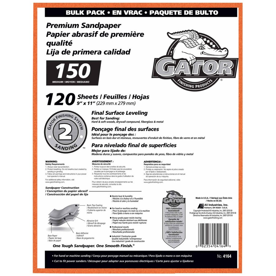 Gator 120-Pack 9-in W x 11-in L 150-Grit Commercial Sandpaper Sheets