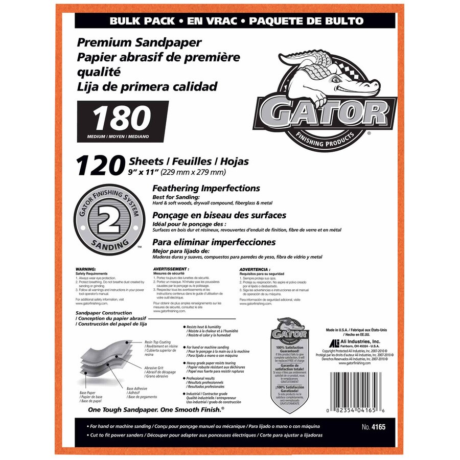 Gator 120-Pack 9-in W x 11-in L 180-Grit Commercial Sanding Sheet Sandpaper