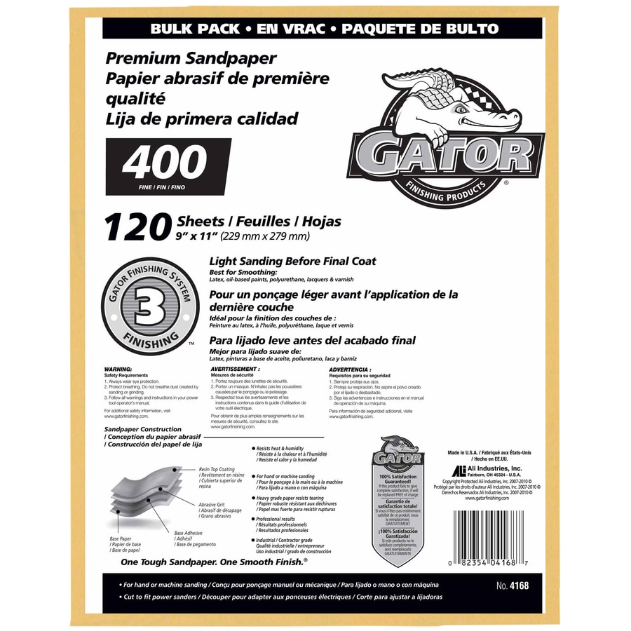 Gator 120-Pack 9-in W x 11-in L 400-Grit Commercial Sanding Sheet Sandpaper
