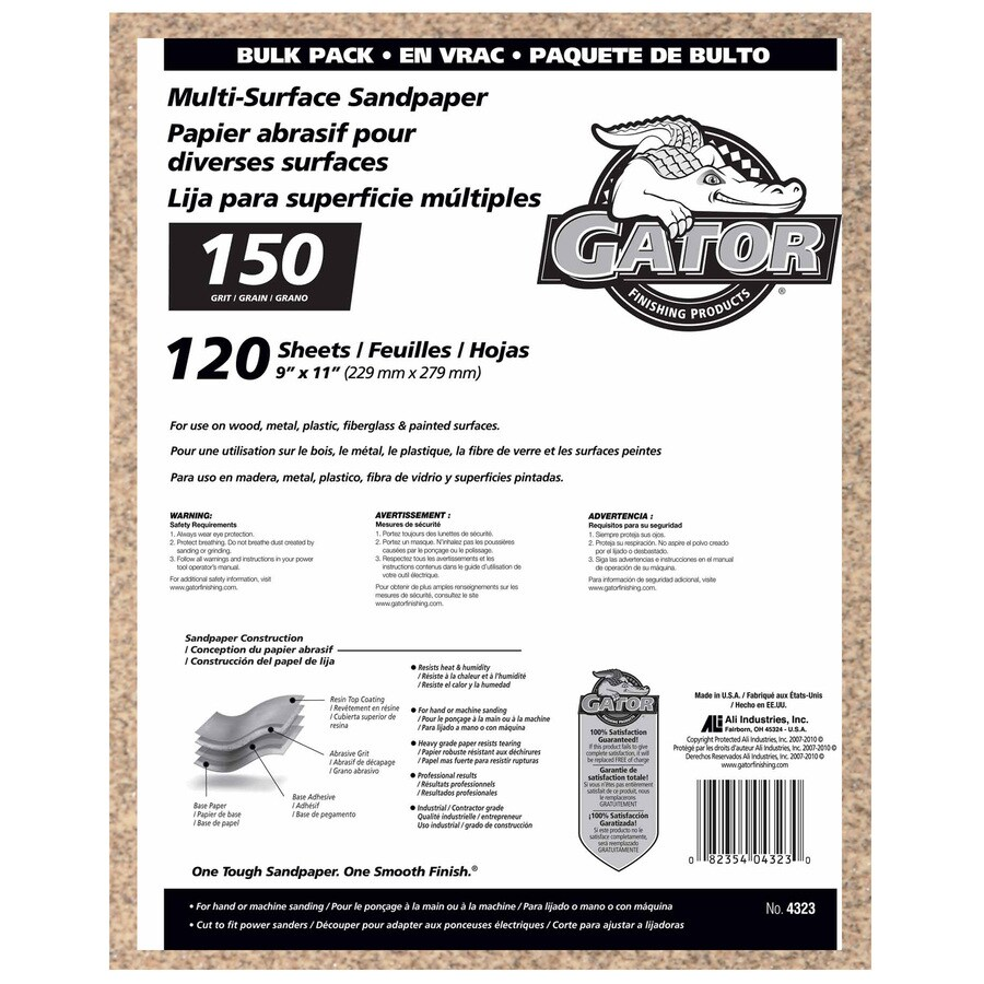 Gator 120-Pack 9-in W x 11-in L 150-Grit Commercial Sanding Sheet Sandpaper