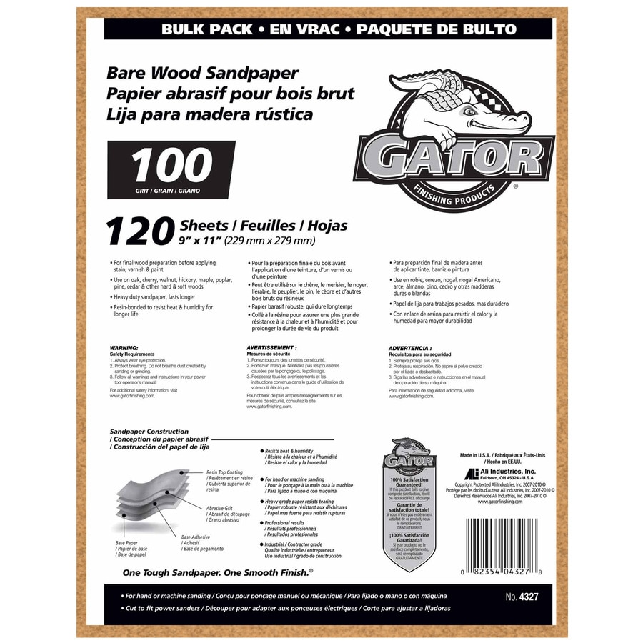 Gator 120-Pack 9-in W x 11-in L 100-Grit Commercial Sanding Sheet Sandpaper
