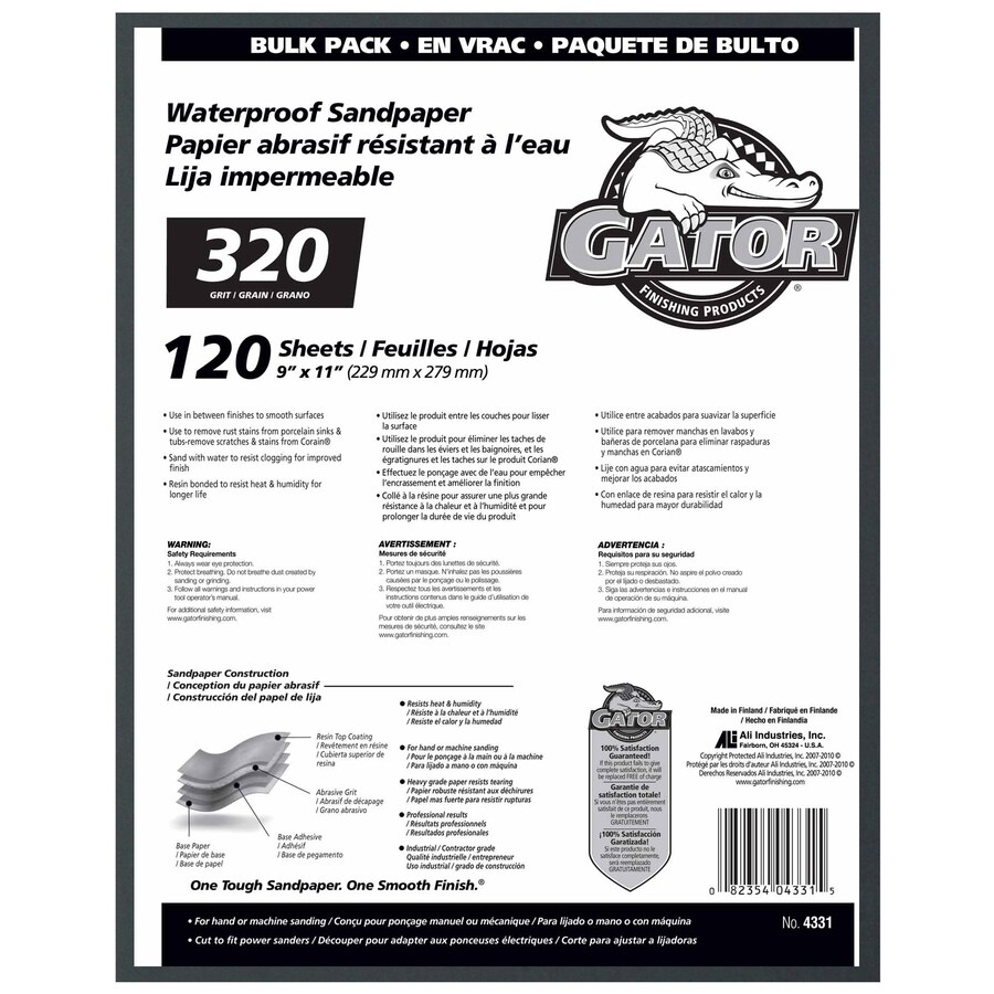 Gator 120-Pack 9-in W x 11-in L 320-Grit Commercial Sanding Sheet Sandpaper