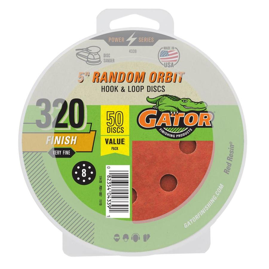 Gator 50-Pack 5-in W x 5-in L 320-Grit Commercial 8-hole Hook And Loop Sanding Disc Sandpaper