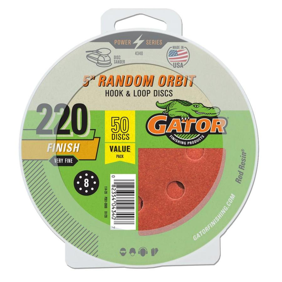 Gator 50-Pack 5-in W x 5-in L 220-Grit Commercial Sanding Disc Sandpaper