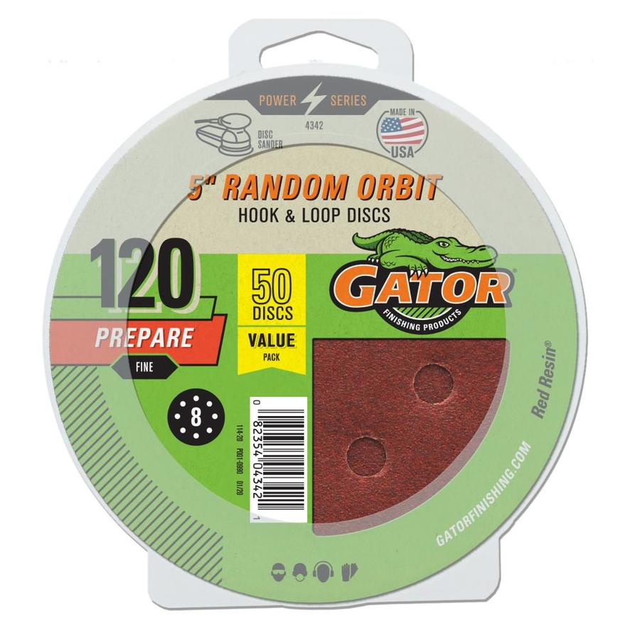 Gator 50-Pack 5-in W x 5-in L 120-Grit Commercial 8-Hole Hook and Loop Sanding Disc Sandpaper