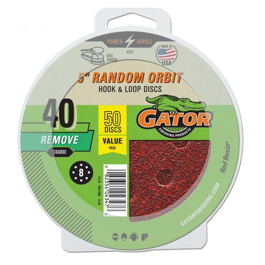 Gator 50-Pack 5-in W x 5-in L 40-Grit Commercial 8-hole Hook And Loop Sanding Disc Sandpaper