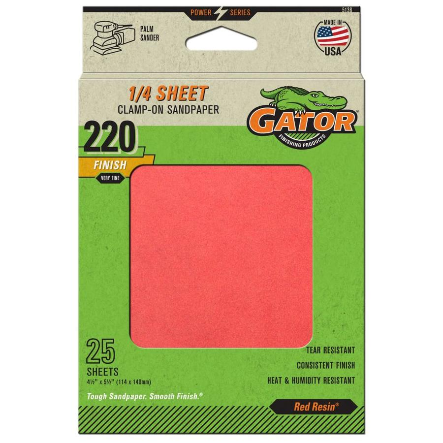 Gator 25-Pack 4.5-in W x 5.5-in L 220-Grit Commercial Clamp-On Sanding Sheets