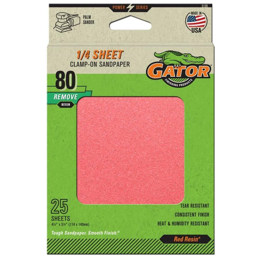 Gator 25-Pack 4.5-in W x 5.5-in L 80-Grit Commercial Clamp-On Sanding Sheets