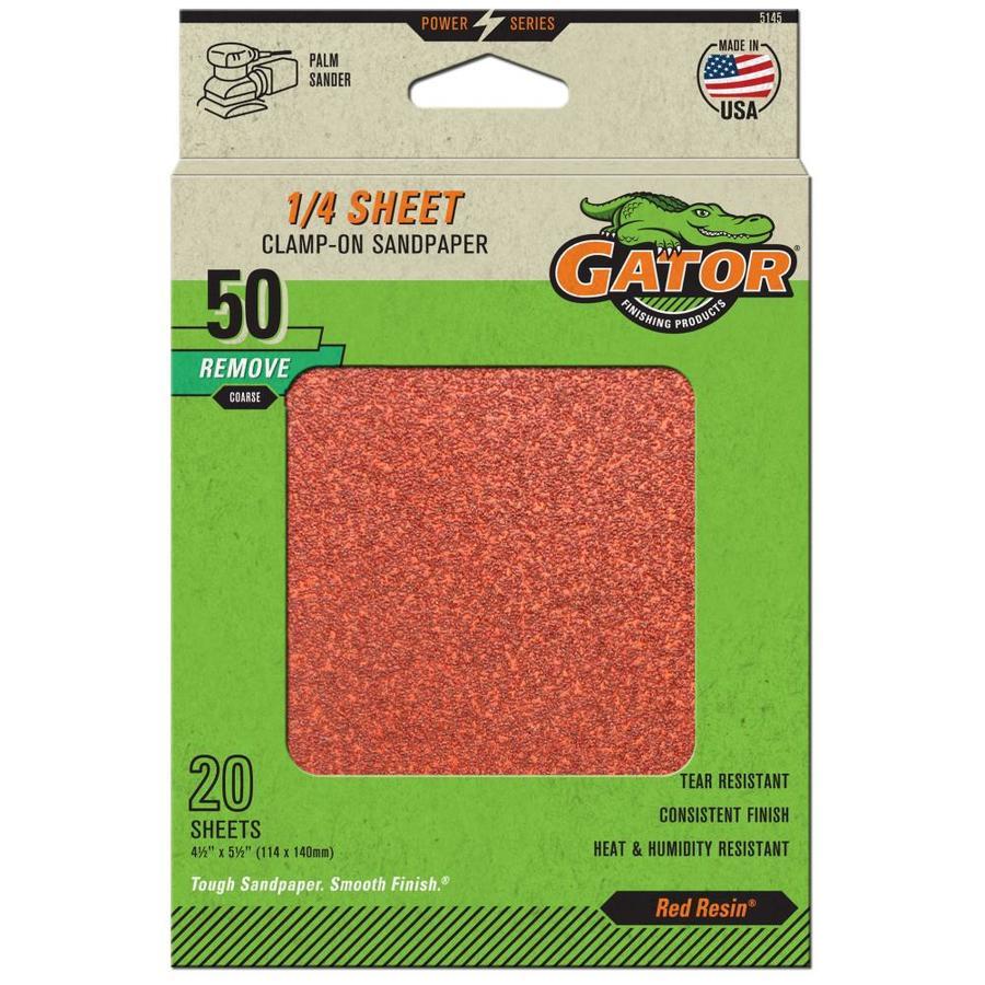 Gator 20-Pack 4.5-in W x 5.5-in L 50-Grit Commercial Clamp-on Sanding Sheet Sandpaper