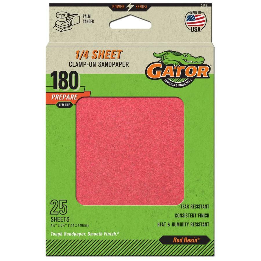 Gator 25-Pack 4.5-in W x 5.5-in L 180-Grit Commercial Clamp-on Sanding Sheet Sandpaper