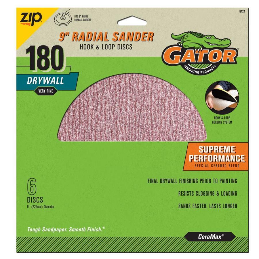 Gator 6-Pack 9-in W x 9-in L 180-Grit Commercial Drywall Hook And Loop Sanding Discs Sandpaper