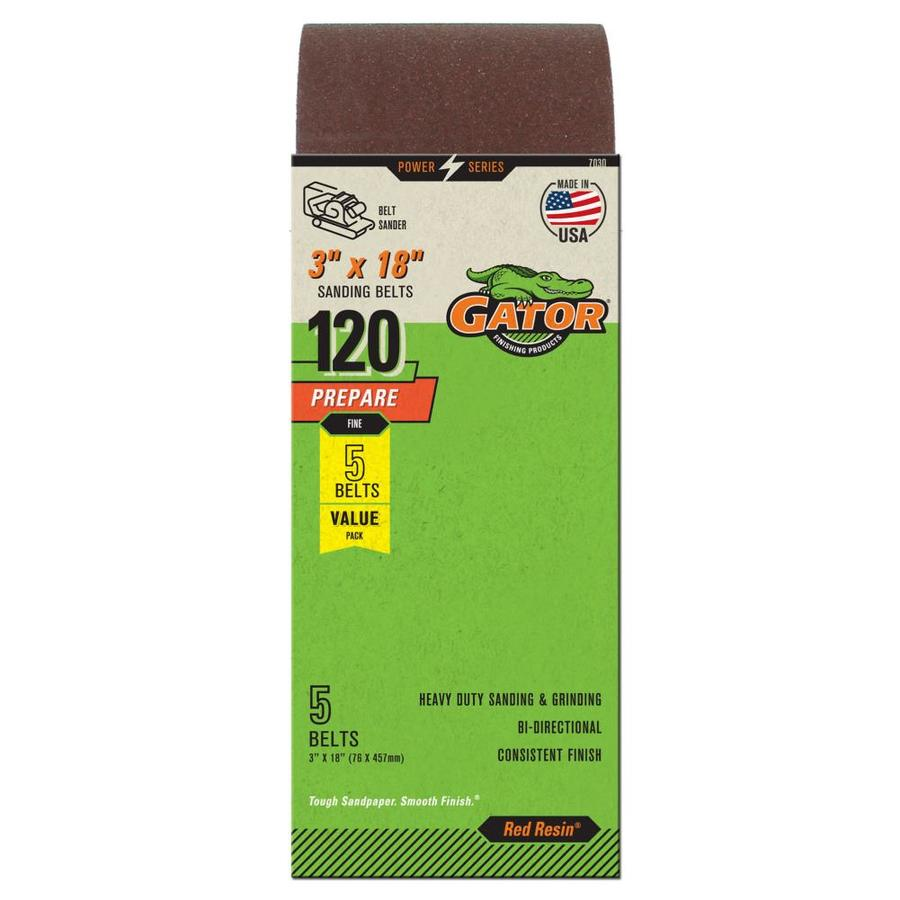 Gator 5-Pack 3-in W x 18-in L 120-Grit Commercial Sanding Belt Sandpaper