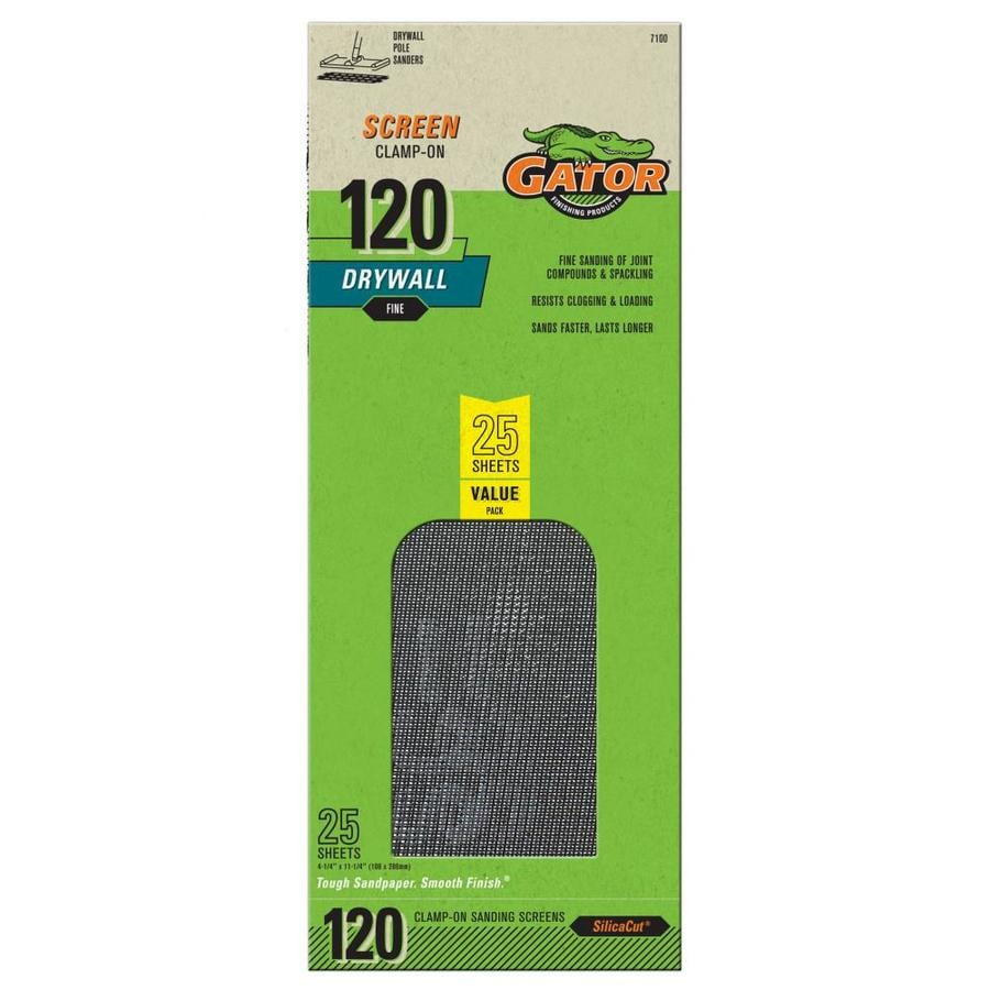 Gator 25-Pack 4.25-in W x 11.25-in L 120-Grit Commercial Precut Drywall Sanding Screen Sandpaper