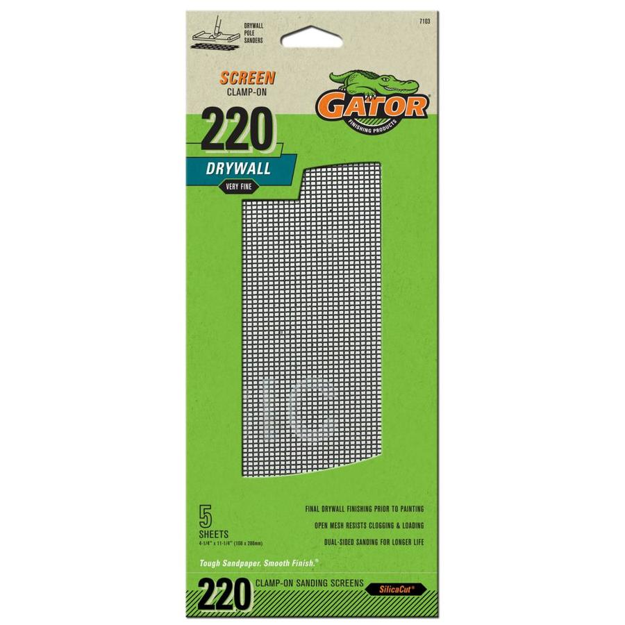 Gator 5-Pack 4.25-in W x 11.25-in L 220-Grit Commercial Precut Drywall Sanding Screen Sandpaper