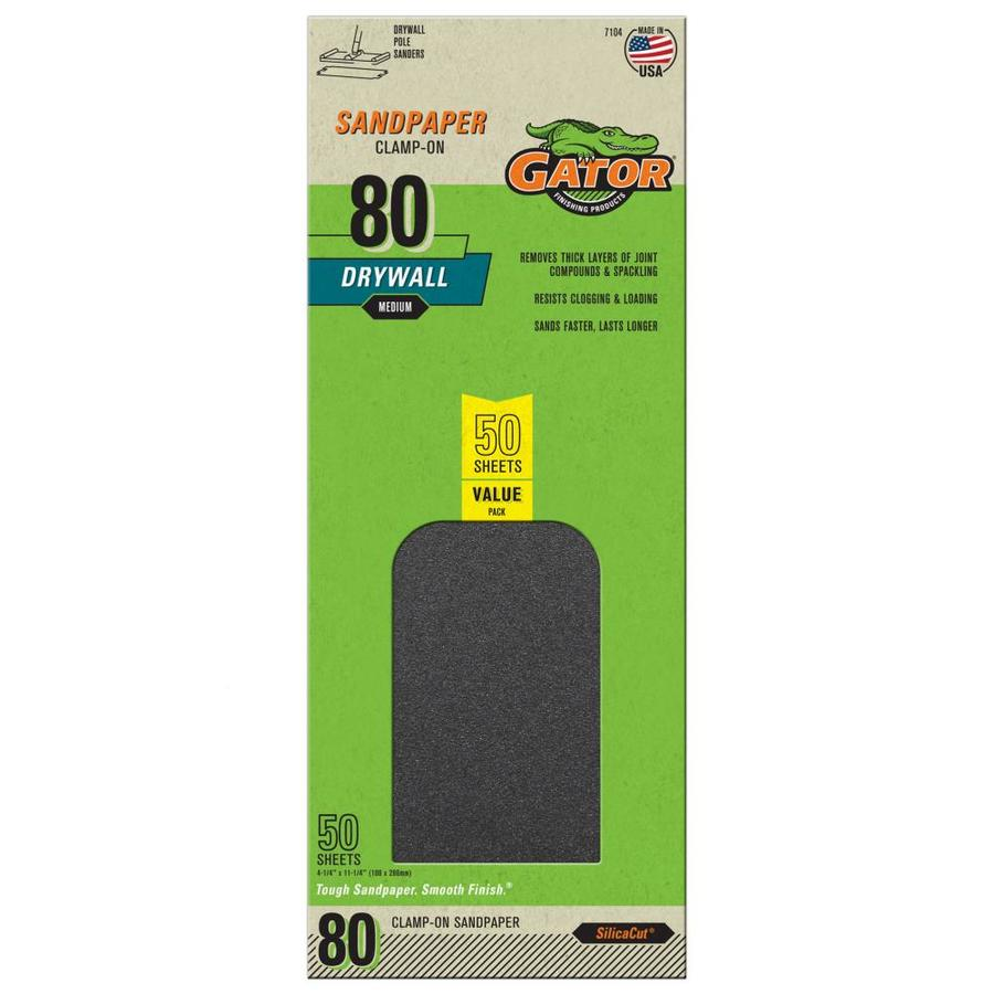 Gator 50-Pack 4.25-in W x 11.25-in L 80-Grit Commercial Precut Drywall Sandpaper