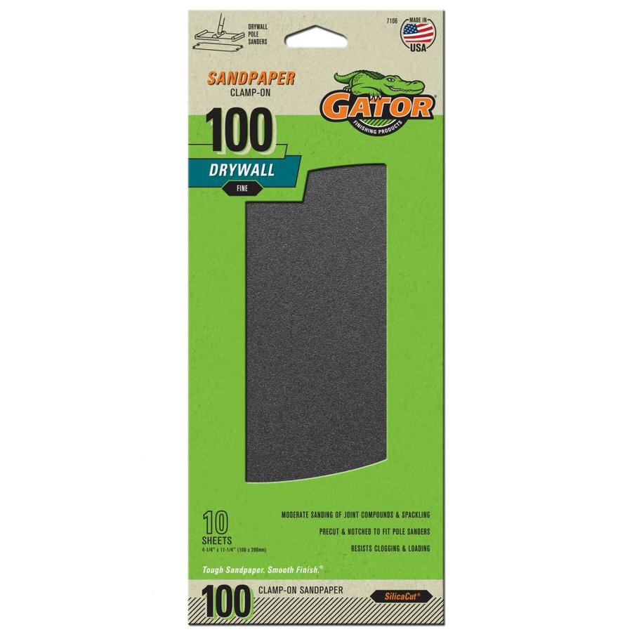 Gator 10-Pack 4.25-in W x 11.25-in L 100-Grit Commercial Precut Drywall Sandpaper