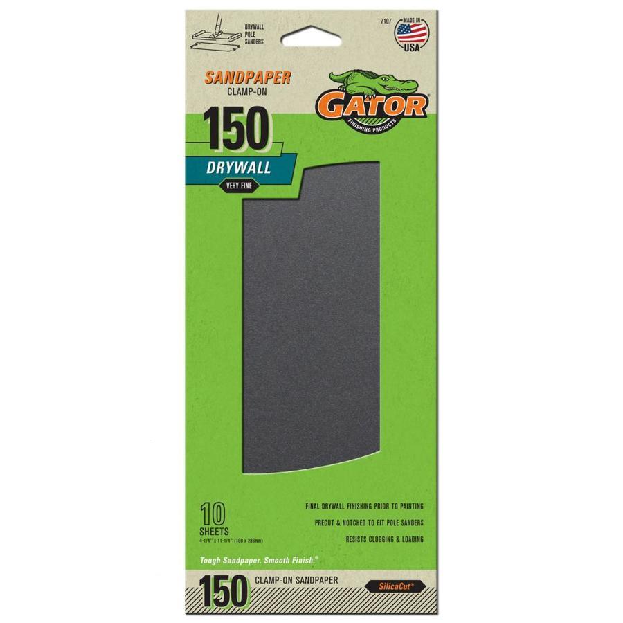 Gator Precut Drywall Sandpaper 10-Pack 4.25-in W x 11.25-in L 150-Grit Commercial Precut Drywall Sandpaper Sandpaper