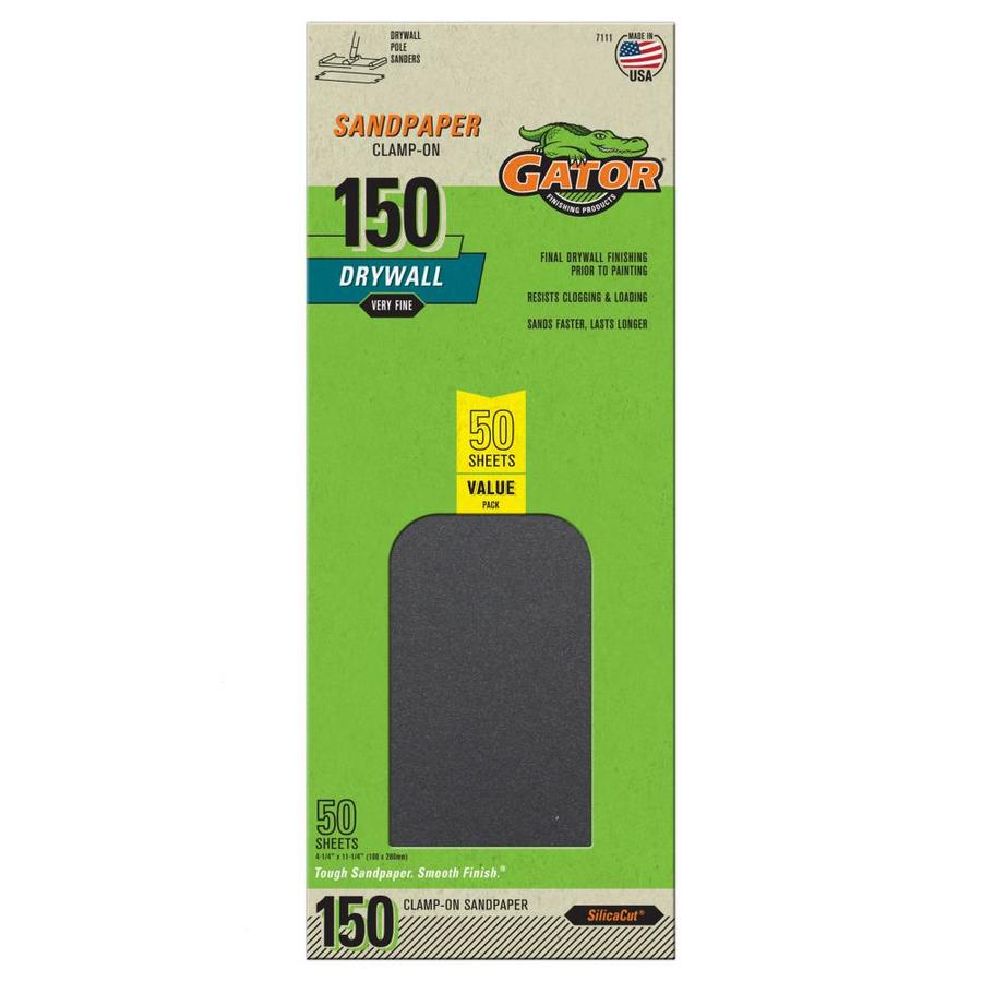 Gator 50-Pack 4.25-in W x 11.25-in L 150-Grit Commercial Precut Drywall Sandpaper