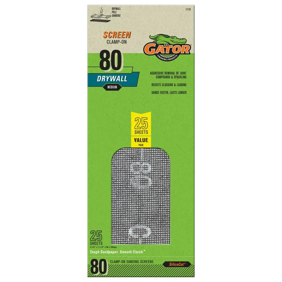 Gator 25-Pack 4.25-in W x 11.25-in L 80-Grit Commercial Precut Drywall Sanding Screen Sandpaper
