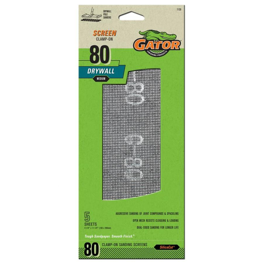 Gator 5-Pack 4.25-in W x 11.25-in L 80-Grit Commercial Precut Drywall Sanding Screen Sandpaper